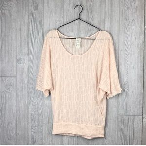 Free People Dusty Rose Textured Blouse